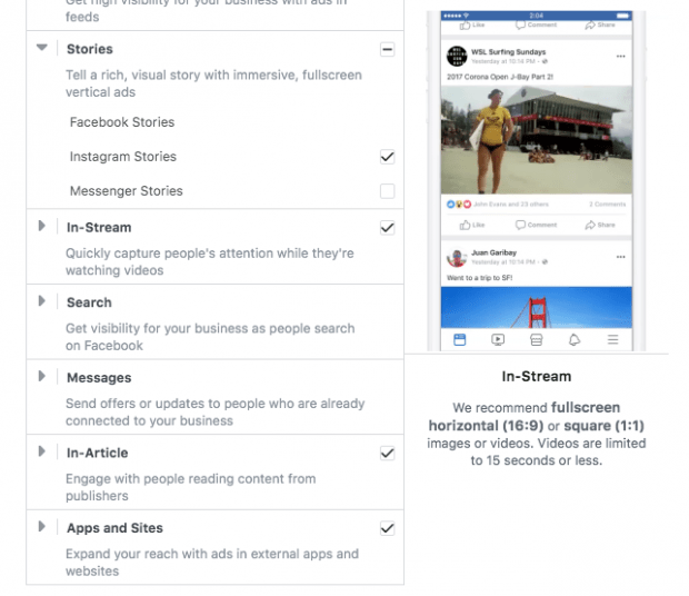 """Placements tab in Instagram Stories ads creation process, scrolled to the bottom. Instagram Stories is selected, along with """"In-Stream"""", """"In-Article"""", and """"Apps and Sites"""""""