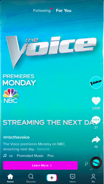 L'annuncio Voice TikTok