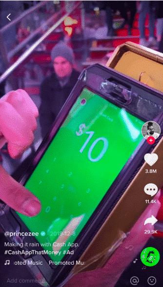 Annuncio in contanti App TikTok