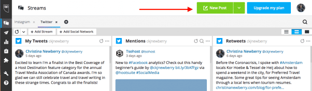 Option to create a new post in Hootsuite