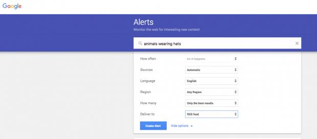 Google alerts for