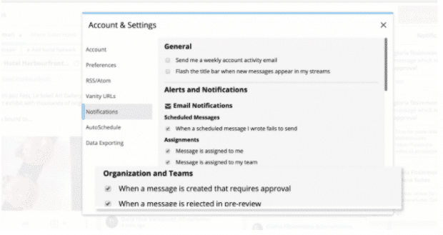Notification settings for Hootsuite