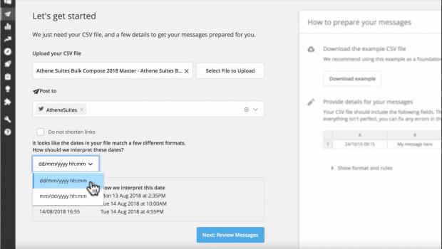 selecting date range for bulk scheduling Tweets in Hootsuite