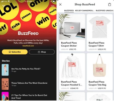 Storie di shopping di Snapchat di Buzzfeed