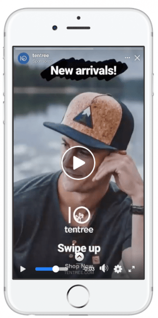Facebook Stories ad Tentree