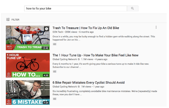"""YouTube video descriptions for search term """"how to fix a bike"""""""