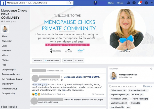 Image of Menopause Chicks' private Facebook Group