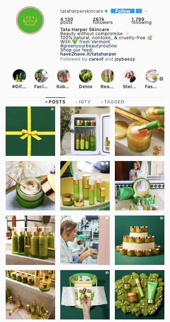 Tata Harper Instagram grid