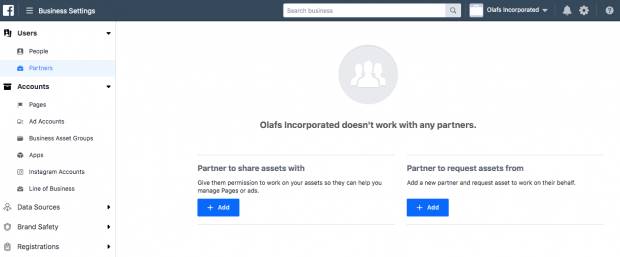 Adding partners to Facebook Business Manager