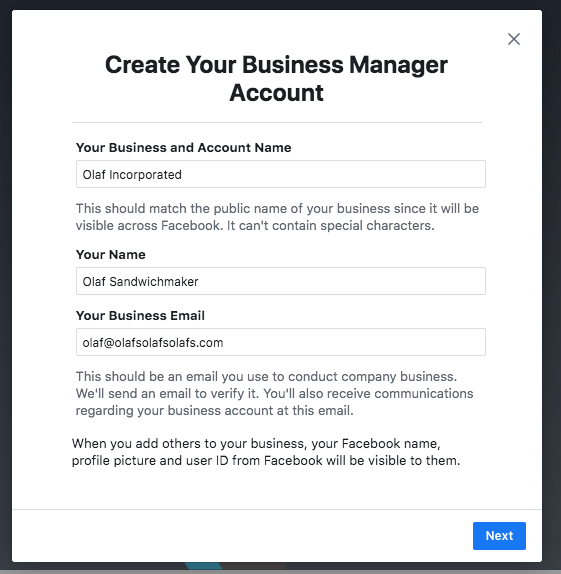 Window to create your Facebook Business Manager account