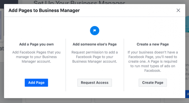 Add Page button on Business Manager setup