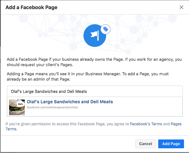 Option to add a Facebook Business Page by company name