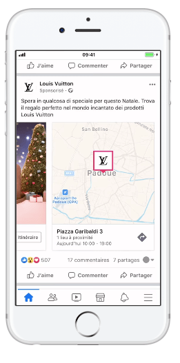 Annuncio Facebook con targeting per località Louis Vuitton
