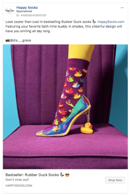 Annuncio illustrato Facebook di Happy Socks