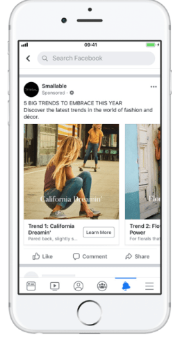 Annuncio dinamico di Facebook da Smallable