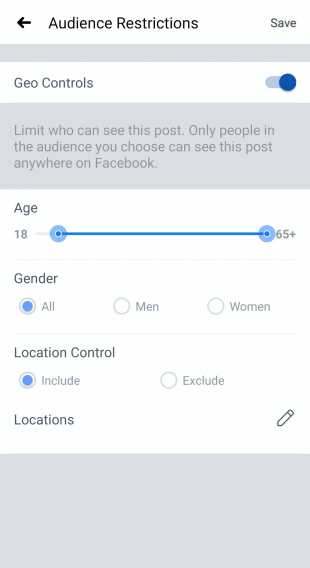 audience restriction options for Facebook Live