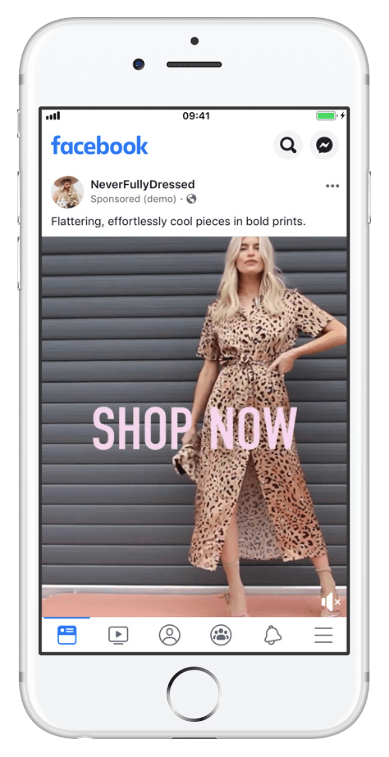 image of Never Fully Dressed mobile Facebook ad