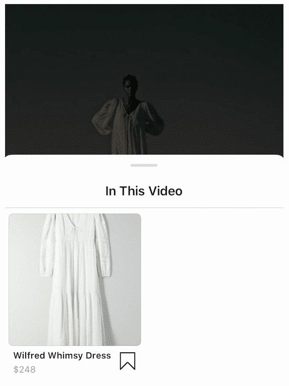 popup de plateau pour une robe étiquetée dans une publication shoppable Instagram