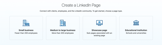 LinkedIn Page categories