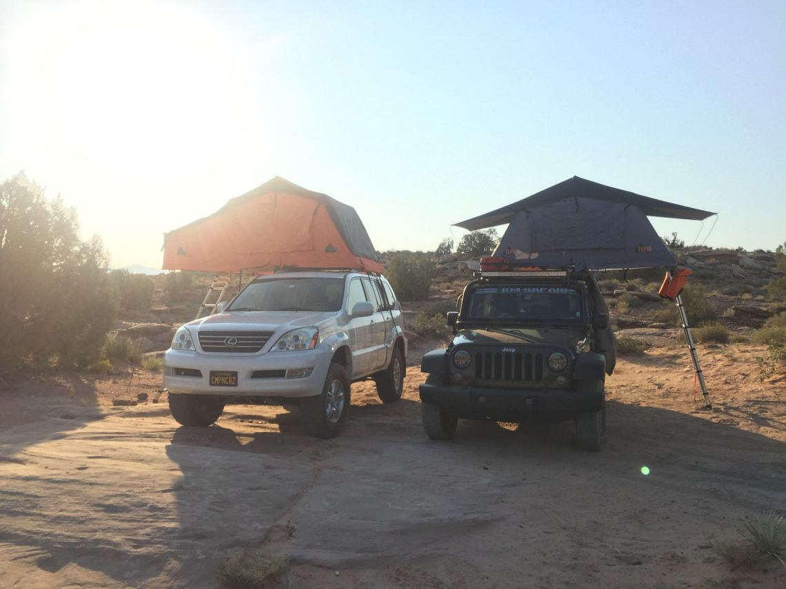two trucks showcase offroad arches national park camping