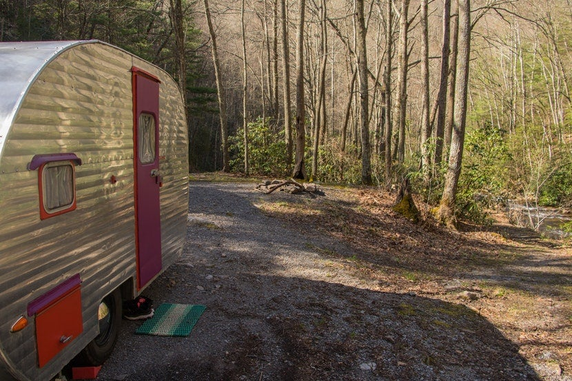 free camping canned ham trailer forest