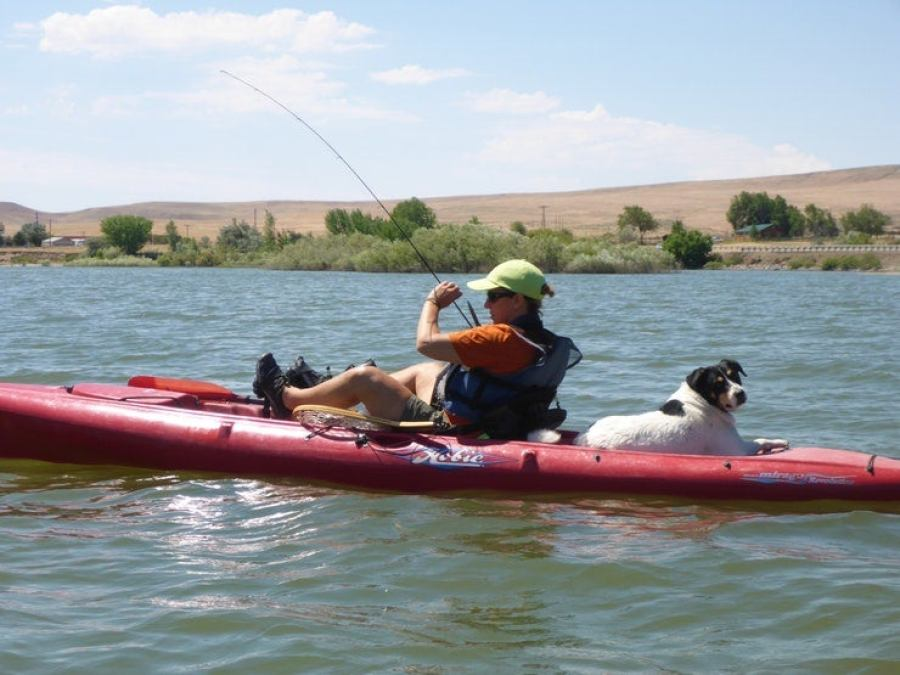 man on camping trip kayaks and fishes with dog on his boat