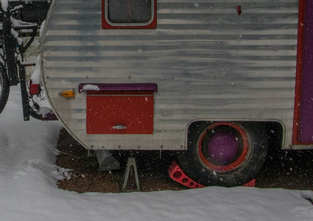 camper trailer leveled in the snow