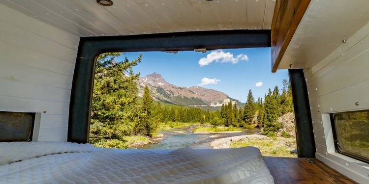 a campervan looking out to the outdoors