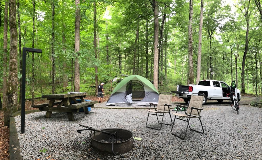 green tent rests in the middle of wooded campsite with picnic table and fire rings