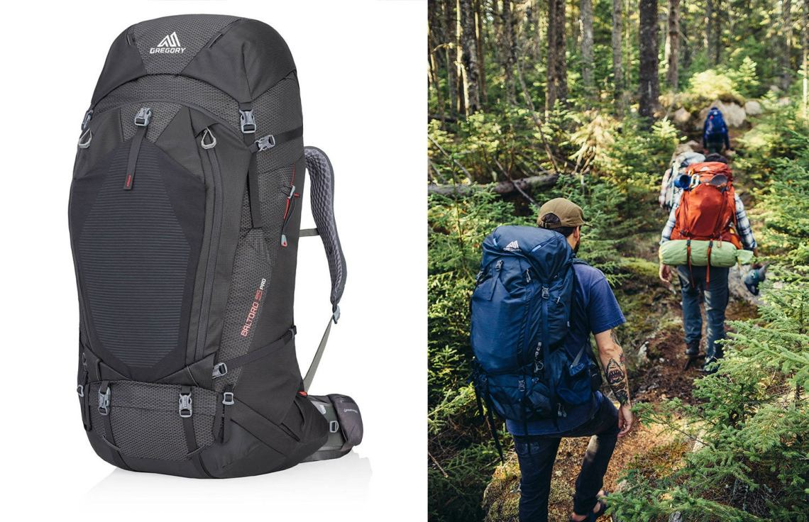 black gregory pack next to image of two hikers on a forest trail