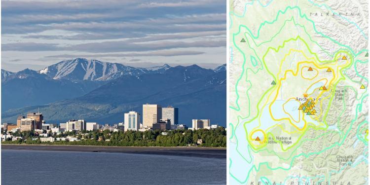 Alaska Earthquake Map and image of Anchorage