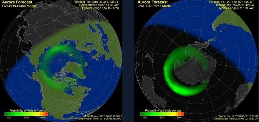 digital rendering of aurora forecast over the north american continent