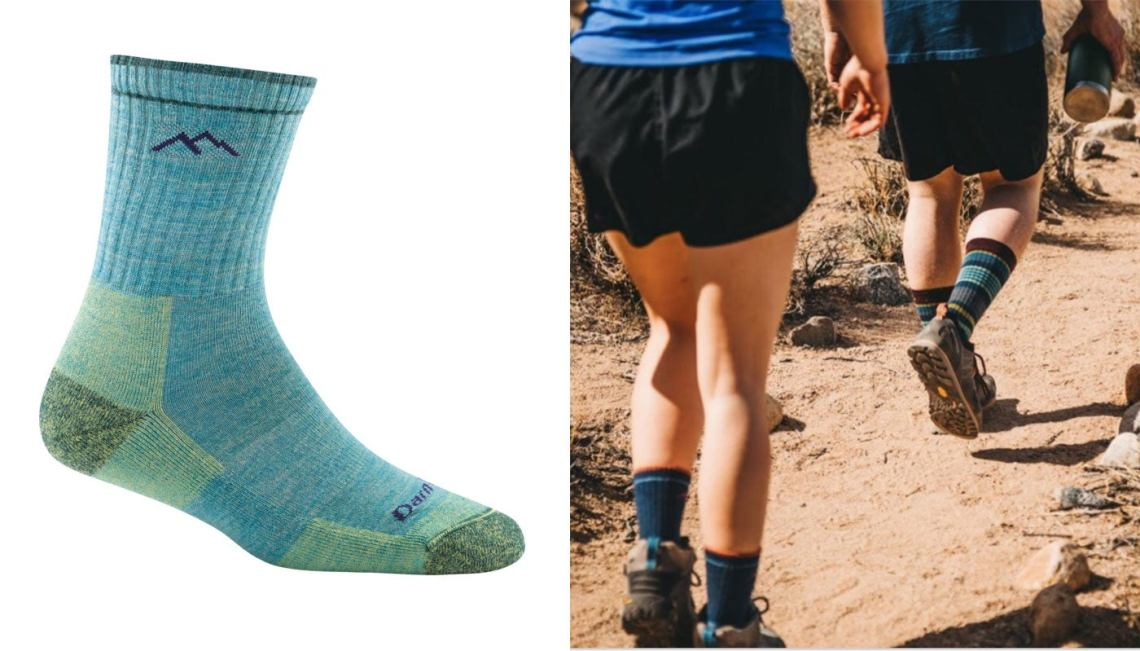 two desert hikers wearing darntough socks