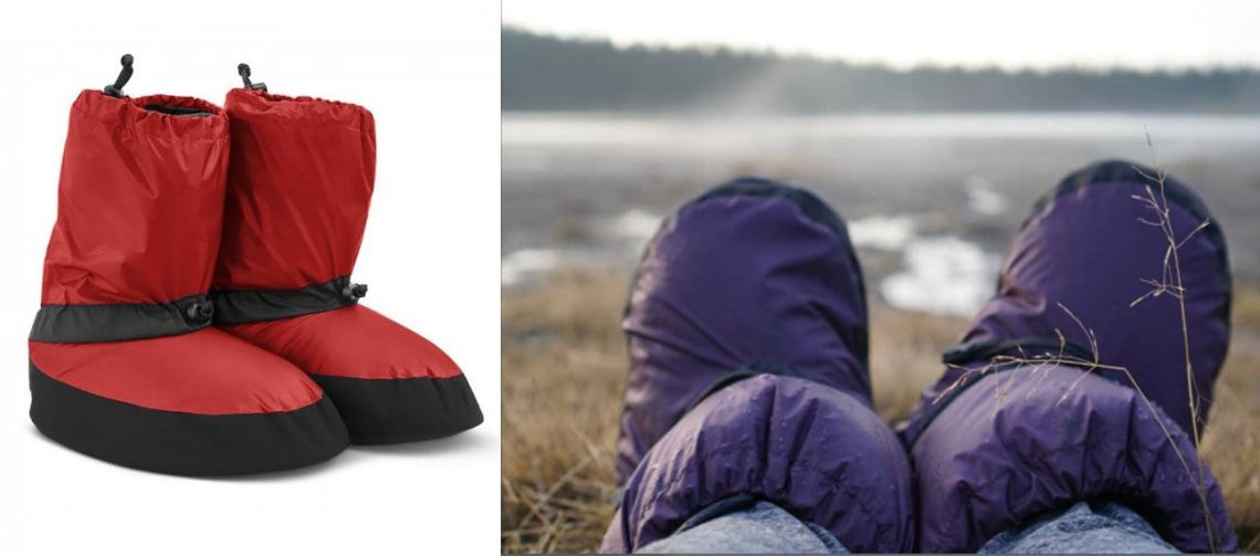 worms eye view of purple booties in nature