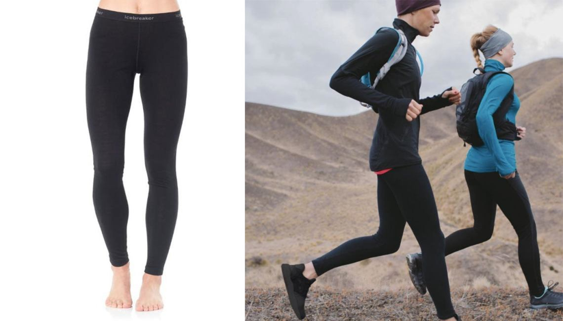 two women run in their black leggings