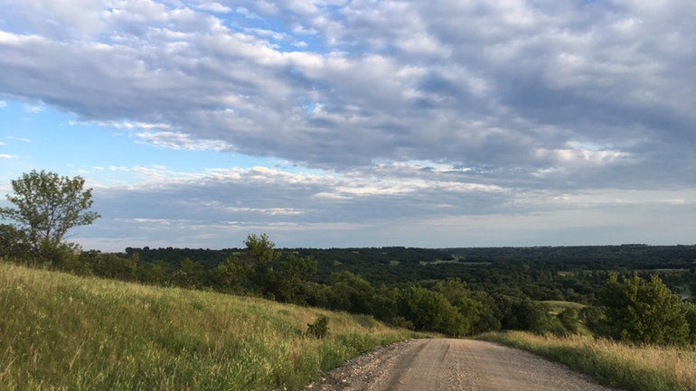 panoramic view of dirt road in the hills of fort ransom state park