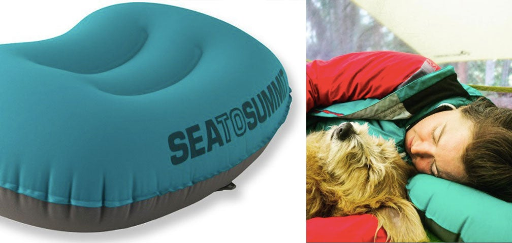 sea to summit pillow beside image of woman and dog sleeping
