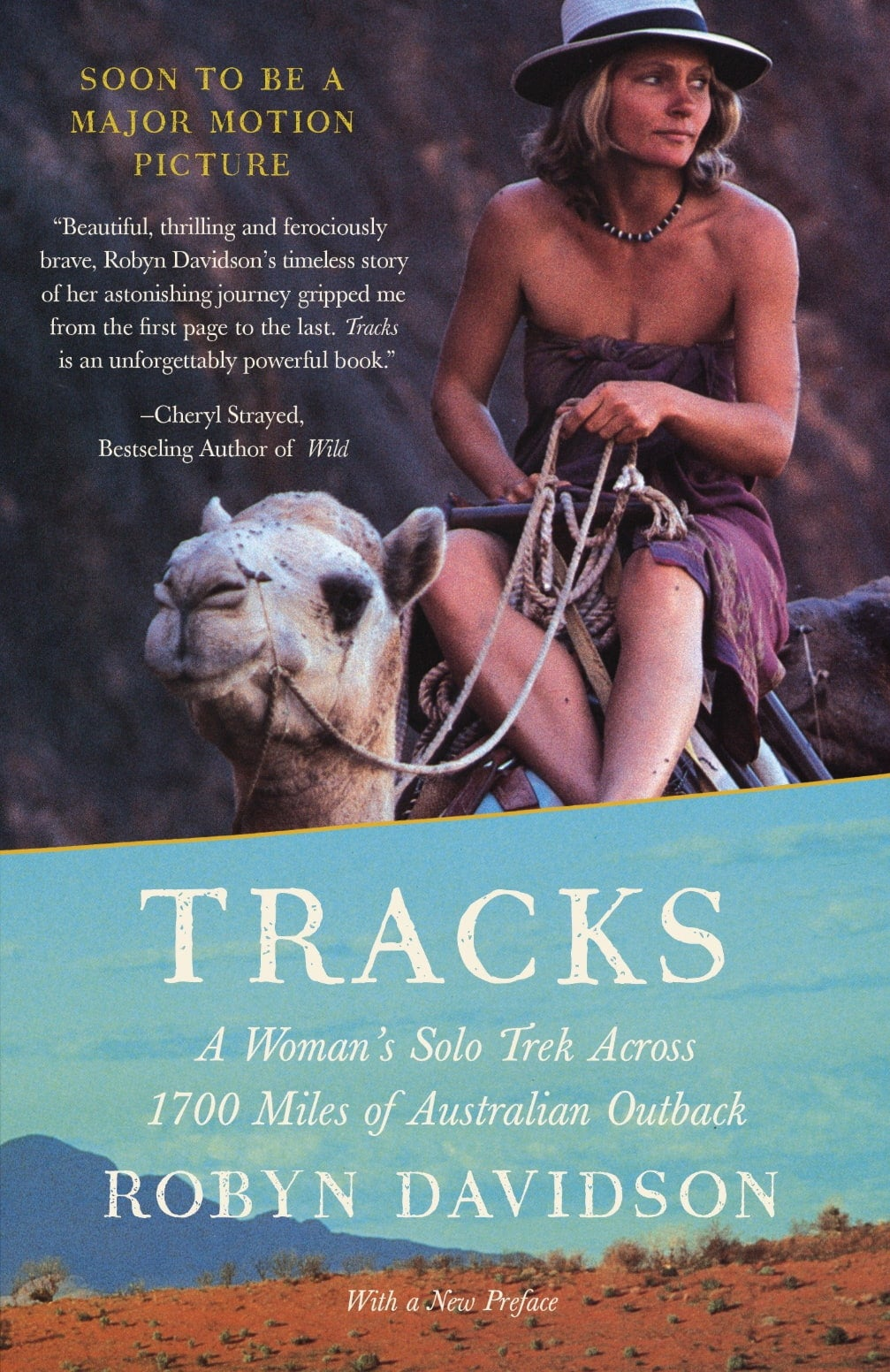 a woman rides a camel on the cover of a book
