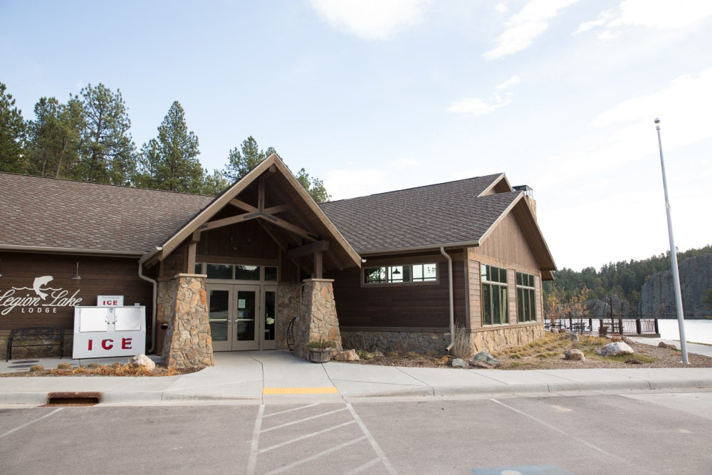 legion lake lodge front doors from the parking lot