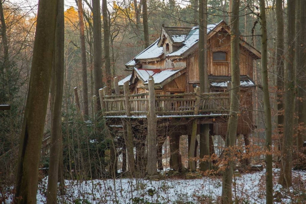 winter camping in tree house