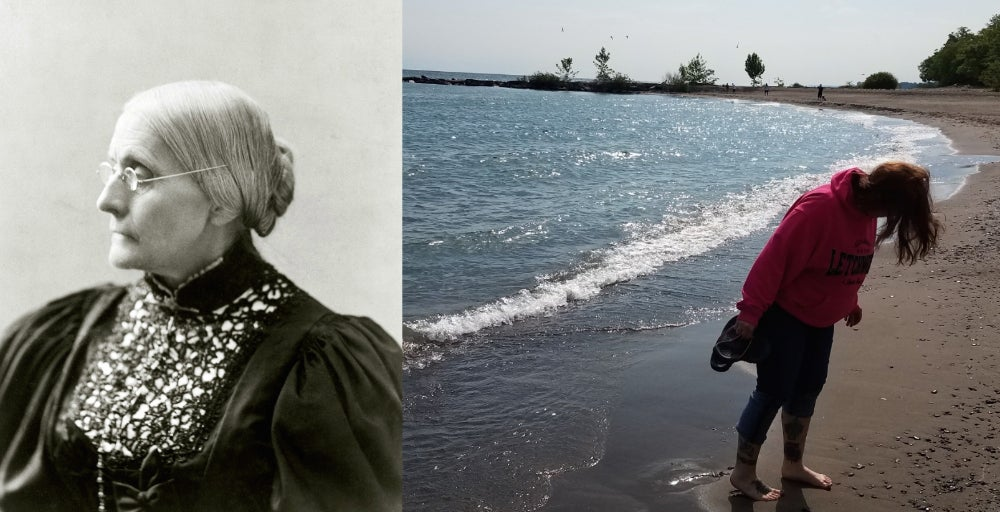 Left: Portrait photograph of Susan B. Anthony. Right: Woman in pink hoodie standing on the beach at Hamlin Beach State Park