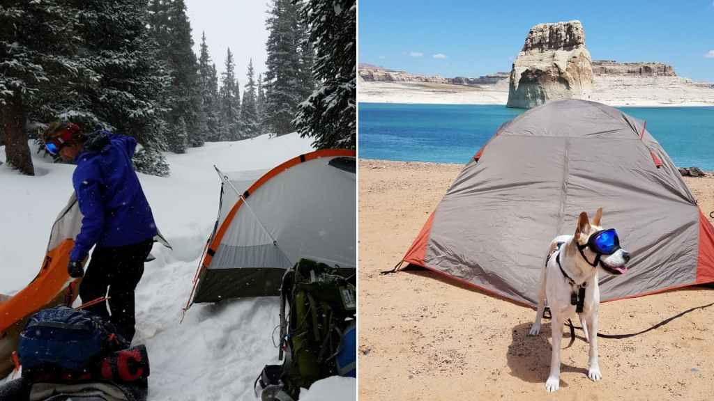 (left) man in blue coat sets up orange tent in snow covered forest (right) white dog wearing blue goggles stands on sandy beach in front of gray tent with bright teal water desert rock formations in the background