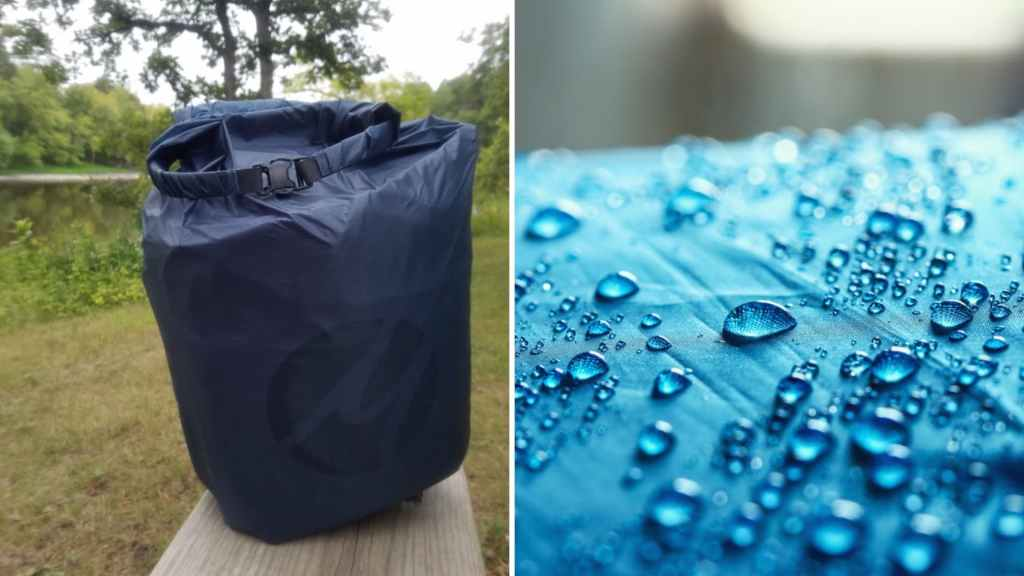 (left) navy blue dry bag sits on bench with greenery and river in background (right) bright blue waterproof fabric with water beading off it
