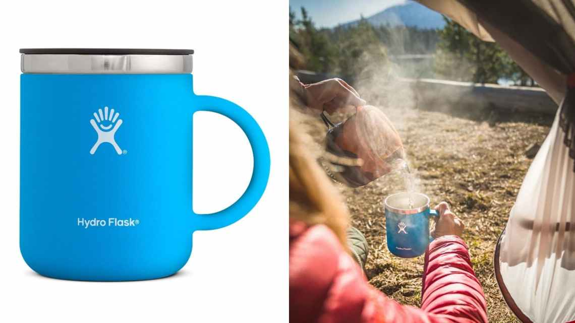 (left) blue hydroflask coffee mug (right) woman in red puffy coat sitting in open tent door pouring steaming water into coffee cup
