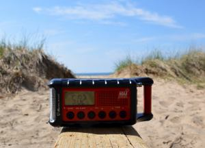 Midland radio on a beach