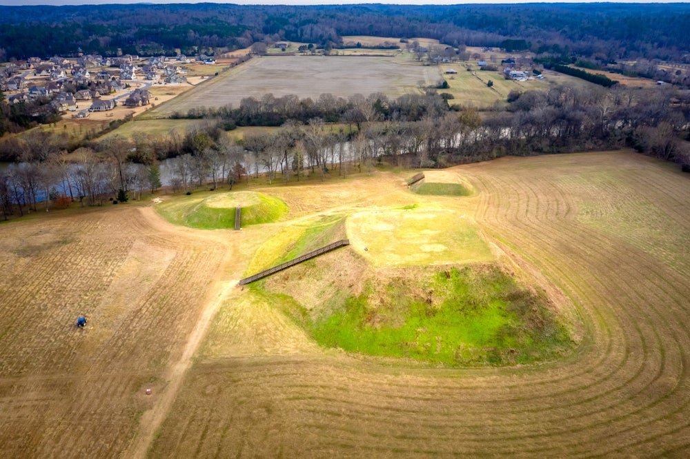 Aerial image of the Etowah Indian Mounds.