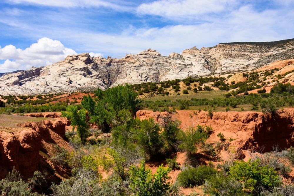 Desert mountain landscape of Mussentuchit Flat, Utah.