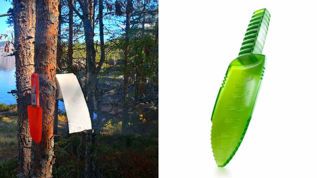 (left) plastic trowel and toilet paper hang on tree branch with lake peaking through trees in background, (right) product shot of green plastic sanitation trowel