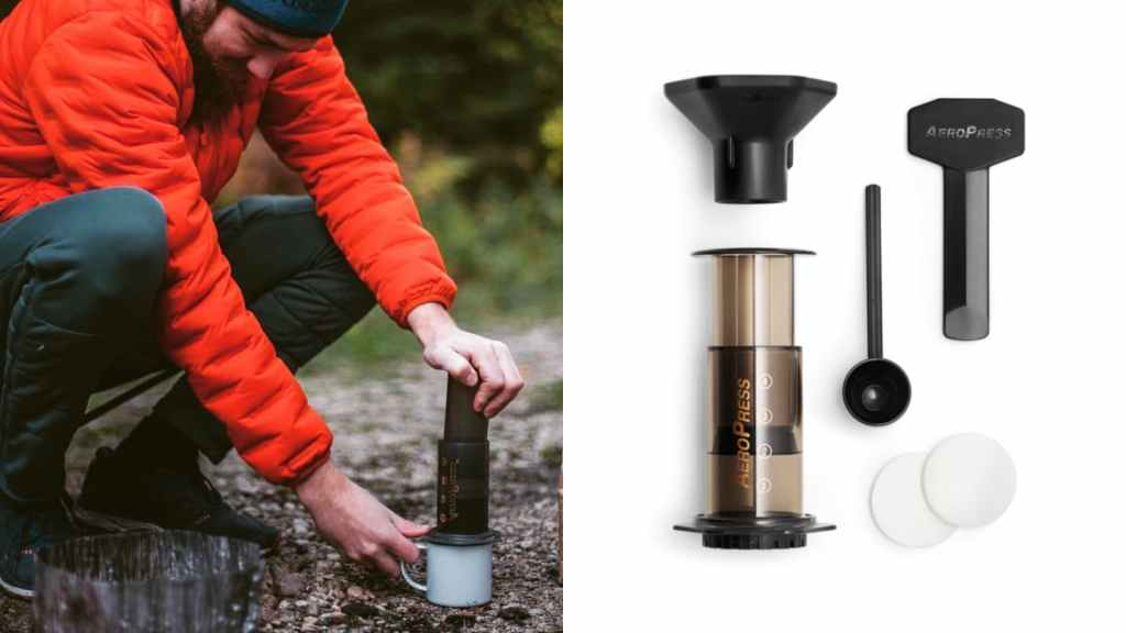 (left) man camping makes coffee with aeropress, (right) product shot of aeropress and accessories