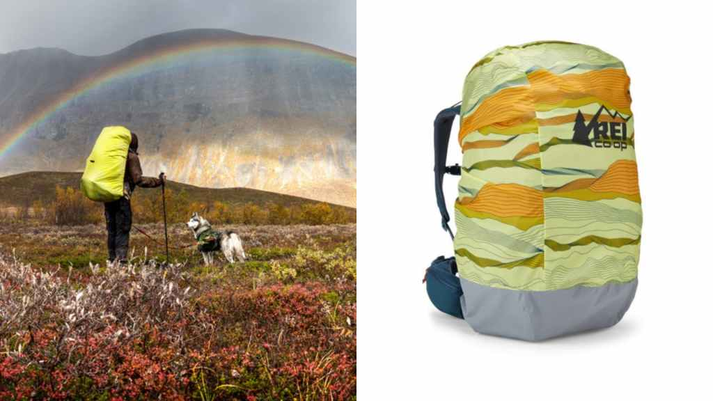 (left) backpacker with dog stand in rain in meadow with rainbow and mountains in the background, (right) product shot of pack rain cover